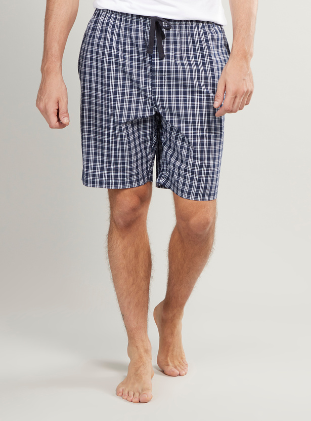 Chequered Shorts with Drawstring and Pocket Detail
