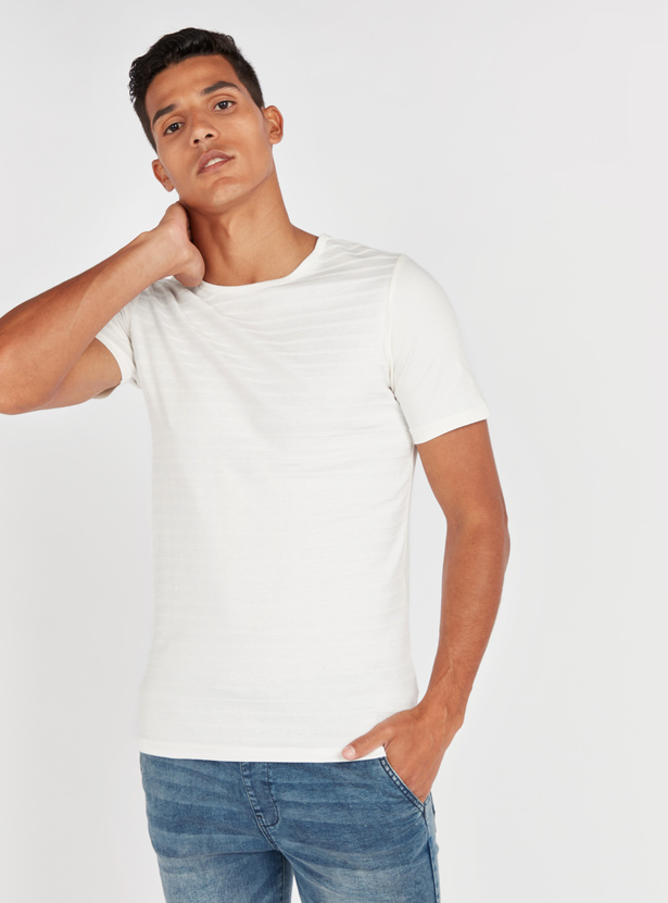 Slim Fit Striped T-shirt with Round Neck and Short Sleeves