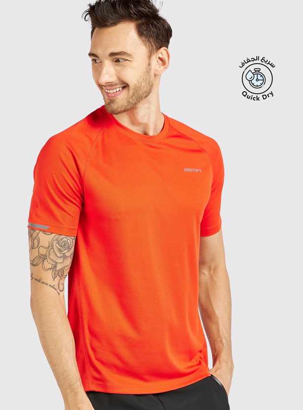Solid Performance T-shirt with Crew Neck and Short Sleeves