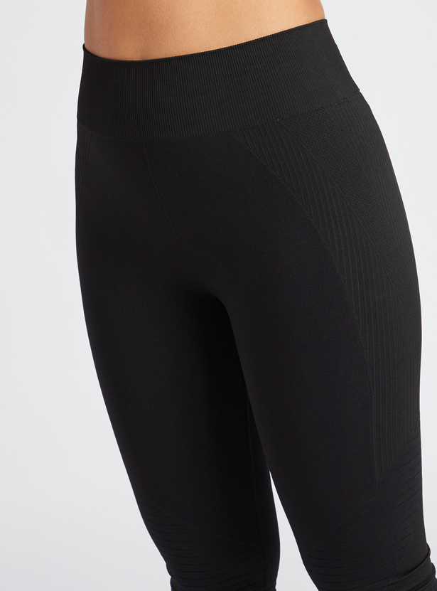 Seamless Textured Leggings with Elasticated Waistband