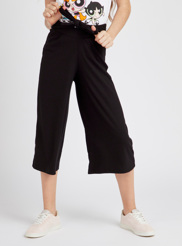 Solid Ribbed Culottes with Tie-Up