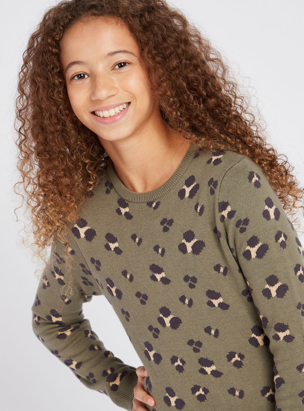 Leopard Print Sweater with Round Neck and Long Sleeves