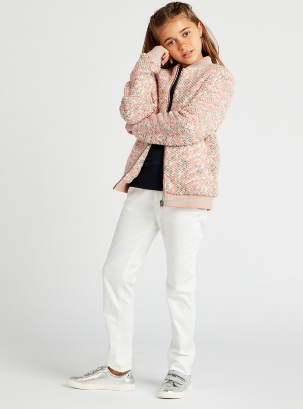 Textured Bomber Jacket with Pockets and Zip Closure