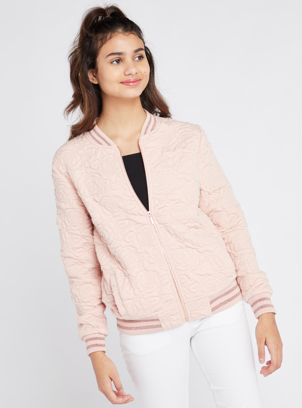Textured Bomber Jacket with Long Sleeves and Pocket Detail