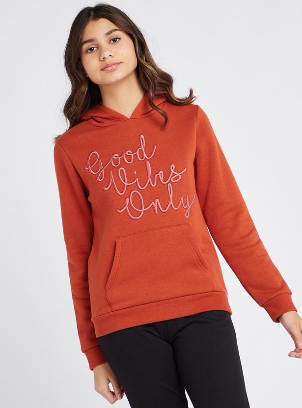 Embroidered Hooded Sweat Top with Long Sleeves