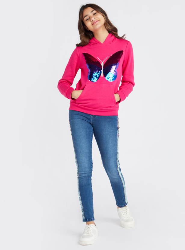 Sequin Embellished Hooded Sweat Top with Long Sleeves