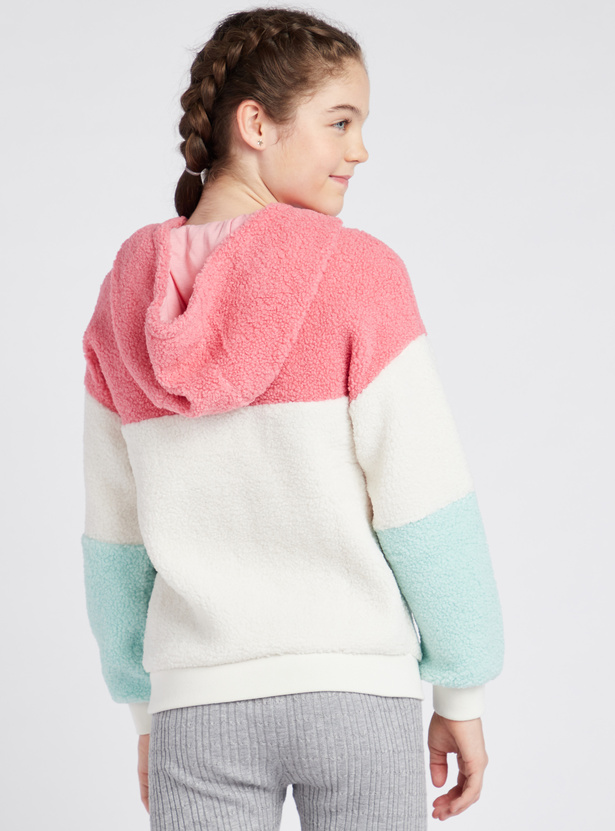 Colourblocked Hooded Neck Jacket with Long Sleeves