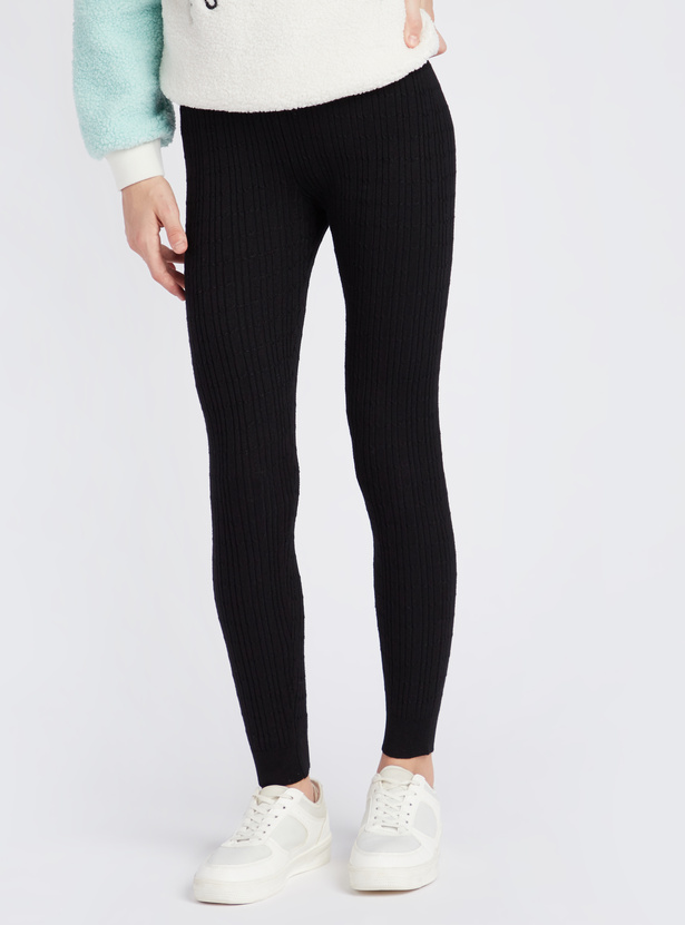 Full Length Cable Knit Textured Leggings with Elasticated Waistband