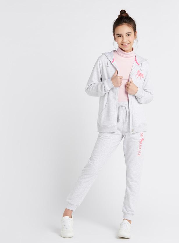Printed Anti-Pilling Hoodie with Long Sleeves and Kangaroo Pockets