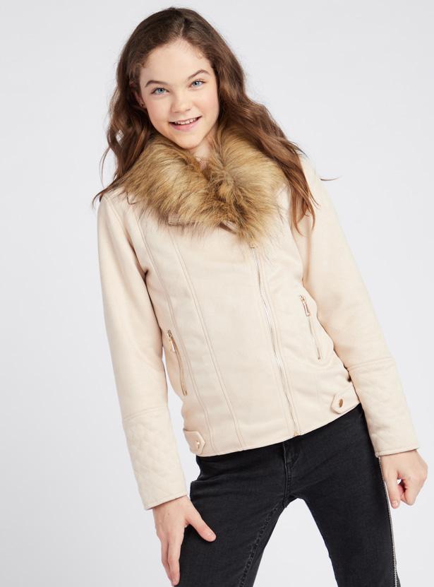 Suede Fur Collared Biker Jacket with Long Sleeves