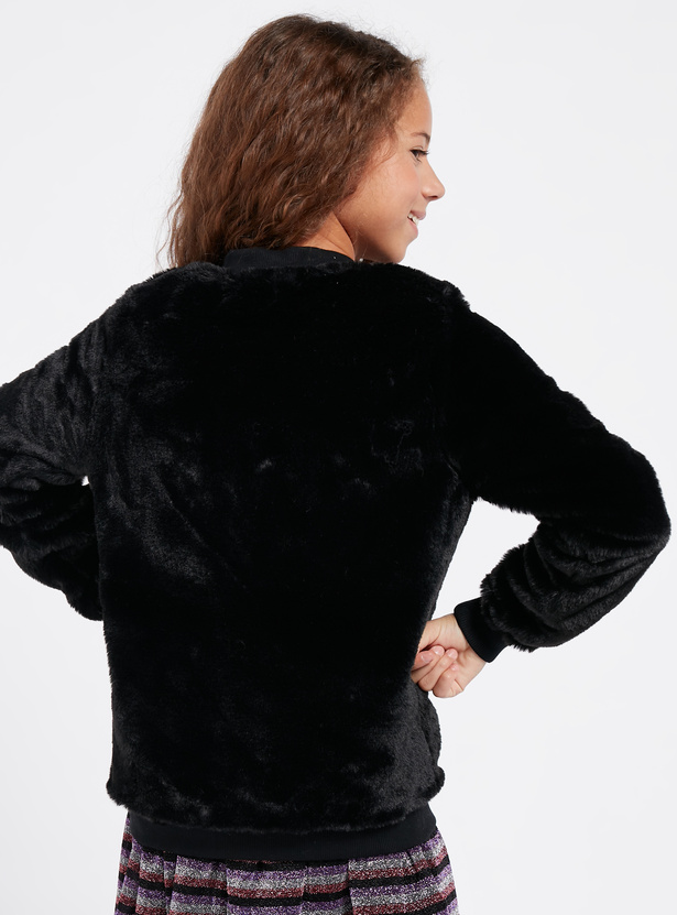 Textured L.O.L. Surprise! Jacket with Long Sleeves and Zip Closure