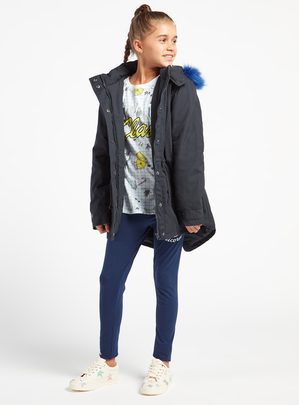 Embellished Hooded Neck Jacket with Long Sleeves and Zip Closure