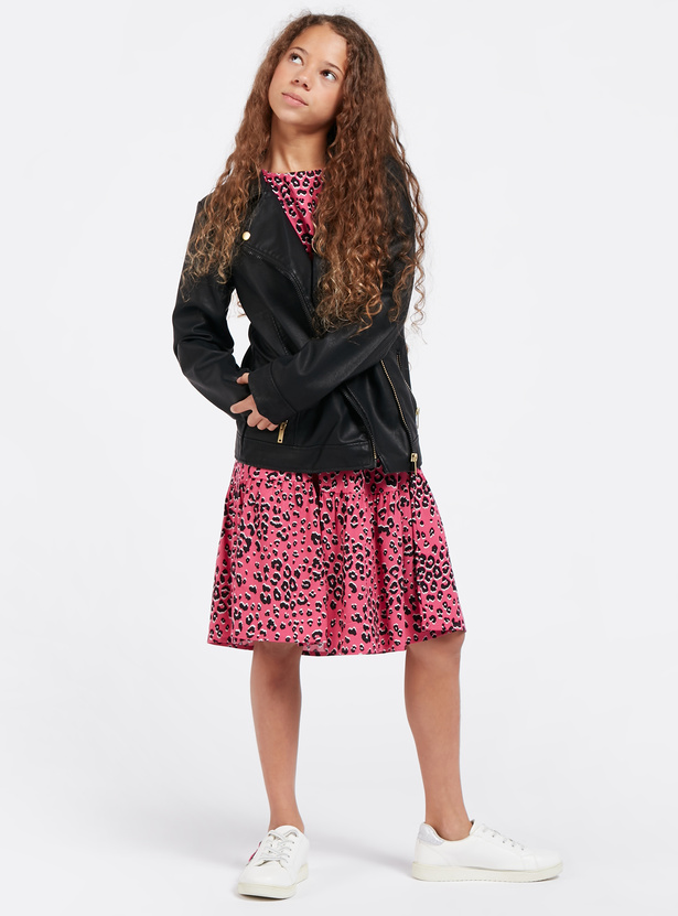 Solid Biker Jacket with Long Sleeves and Zip Pockets
