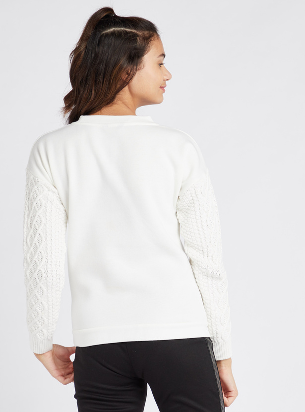 Printed Round Neck Sweater with Long Sleeves