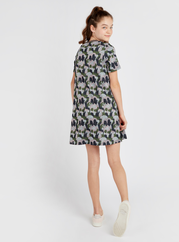 Printed Mini Dress with Round Neck and Short Sleeves