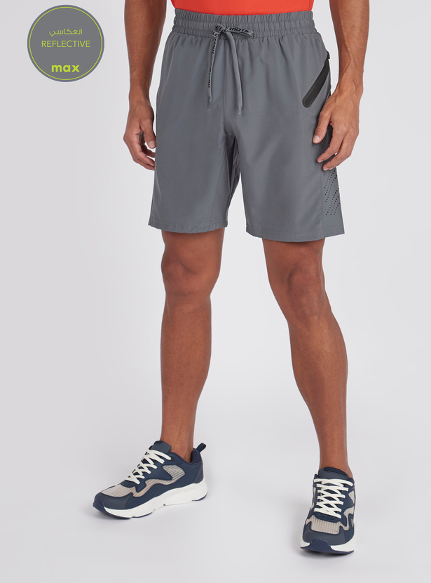 Textured Reflective Shorts with Pocket Detail and Drawstring