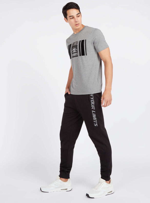Slim Fit Text Print Jog Pants with Pocket Detail