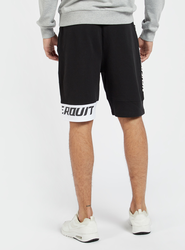 Printed Panelled Shorts with Drawstring Closure and Pockets