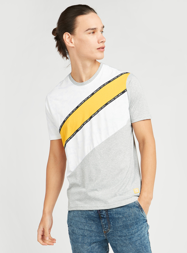 Panelled T-shirt with Round Neck and Tape Detail