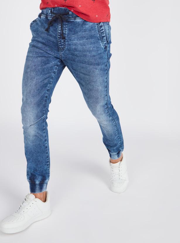 Slim Fit Mid Rise Denim Jog Pants with Drawstring