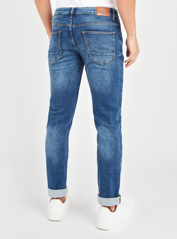 Slim Fit Textured Jeans with Pocket Detail and Belt Loops