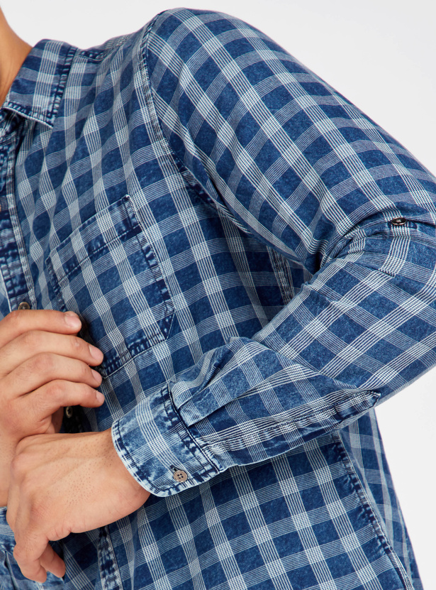 Slim Fit Chequered Shirt with Long Sleeves