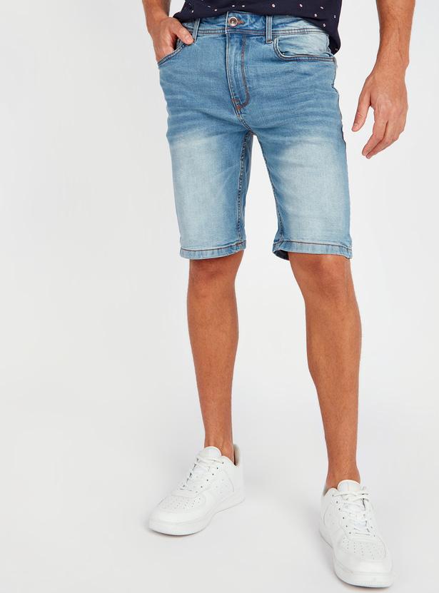 Slim Fit Mid Rise Denim Shorts with Pocket Detail