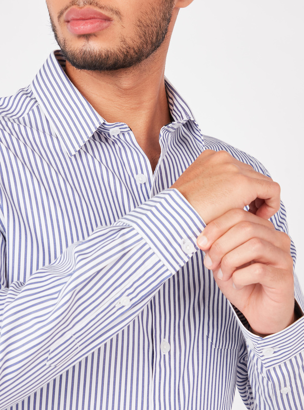 Striped Shirt with Long Sleeves and Pocket Detail