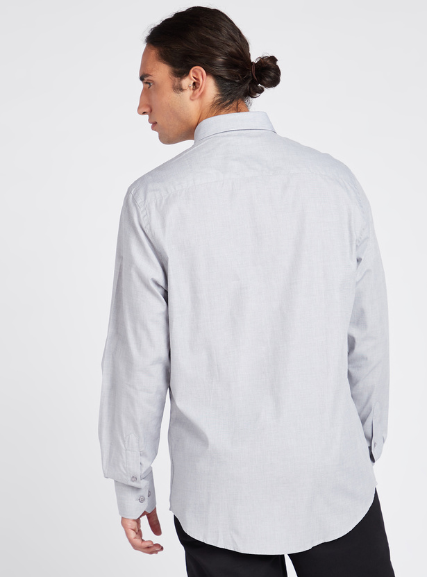 Regular Fit Solid Shirt with Button Down Collar and Long Sleeves