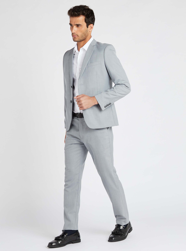 Solid Collared Formal Shirt with Long Sleeves and Button Up Closure