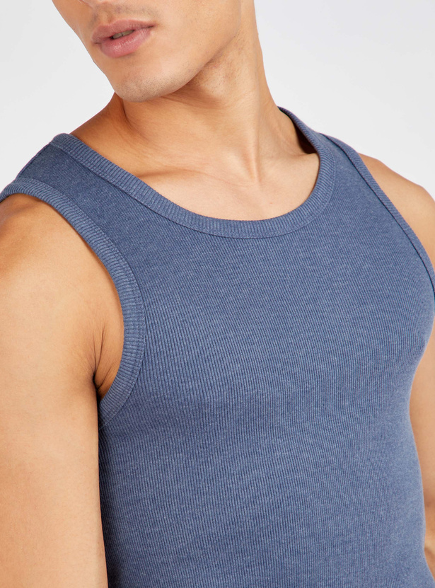 Solid Ribbed Vest with Round Neck