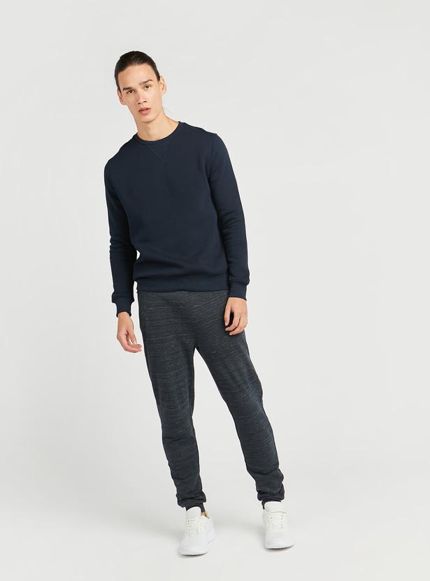 Slim Fit Space Dye Print Mid-Rise Jog Pants with Pocket Detail