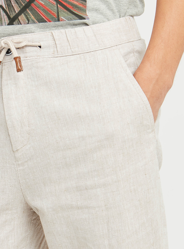 Textured Mid-Rise Jog Pants with Pocket Detail