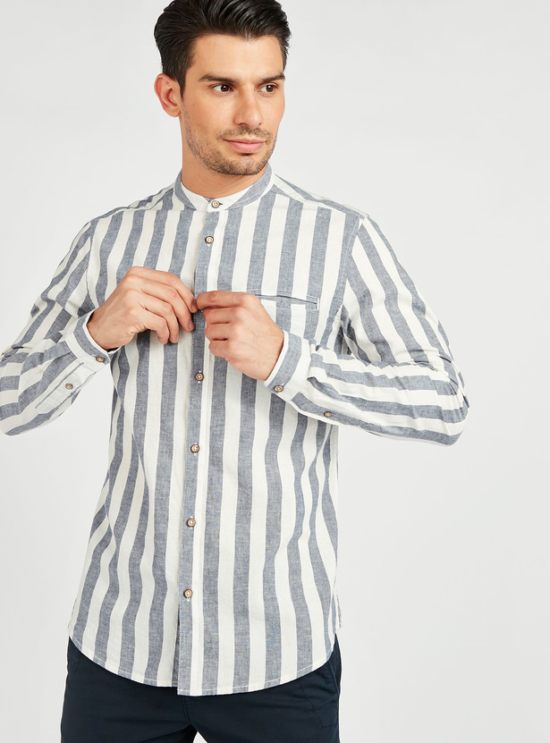 Slim Fit Striped Shirt with Mandarin Collar and Welt Pocket