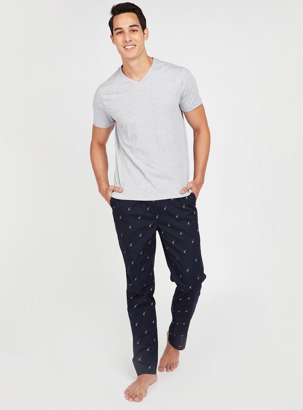 Printed Pyjamas with Pocket Detail and Elasticised Waistband