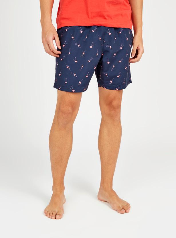 Flamingos Print Shorts with Pocket Detail and Drawstring
