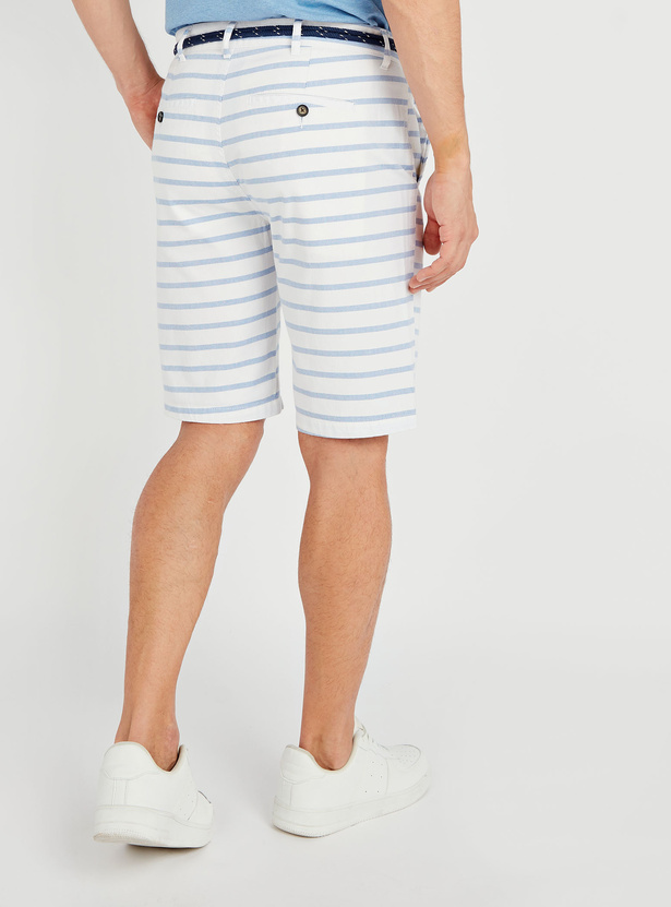 Striped Mid-Rise Shorts with Pocket Detail and Belt Loops