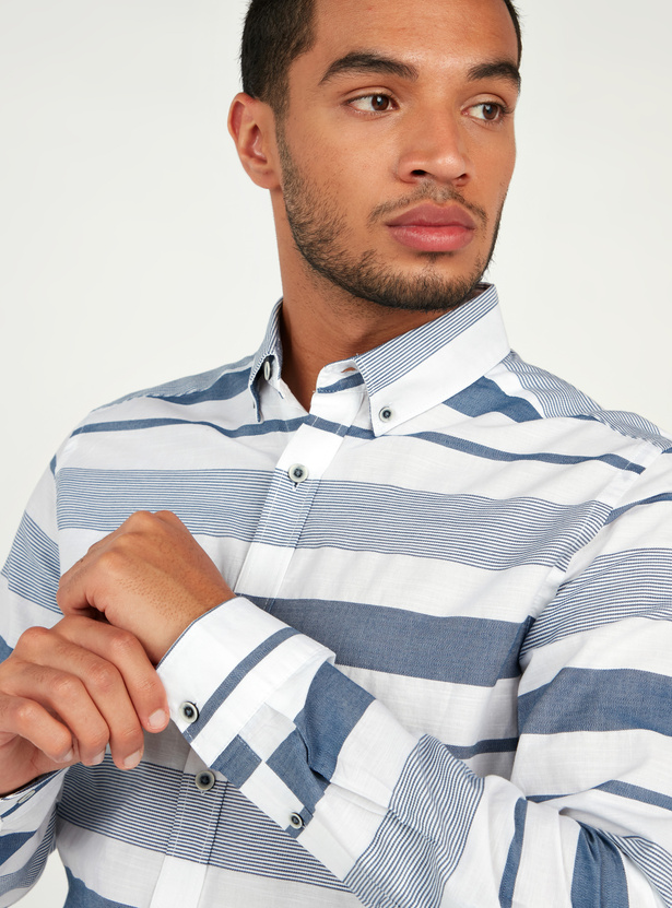 Slim Fit Striped Shirt with Long Sleeves