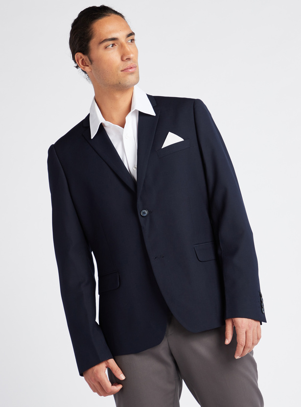 Solid Blazer with Spread Collar and Long Sleeves