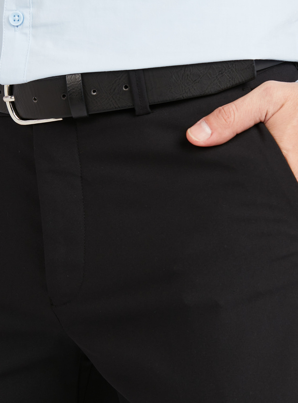 Slim Fit Full Length Solid Trousers with Pocket Detail and Belt Loops