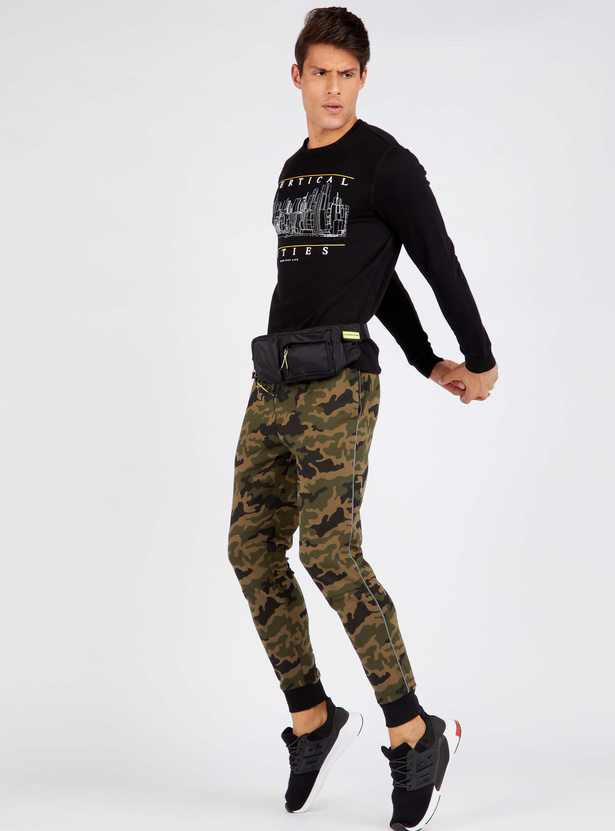 Camouflage Print Cuffed Joggers with Piping Detail