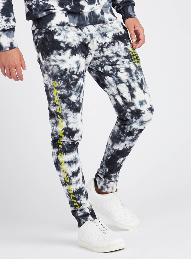 Text Print Tie Die Joggers with Drawstring Closure