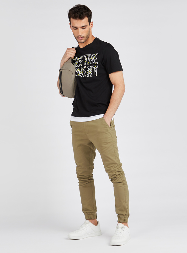 Slogan Print Layered T-shirt with Round Neck and Short Sleeves