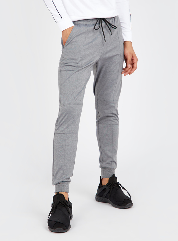 Textured Slim Fit Full Length Panelled Joggers with Cuffed Hem