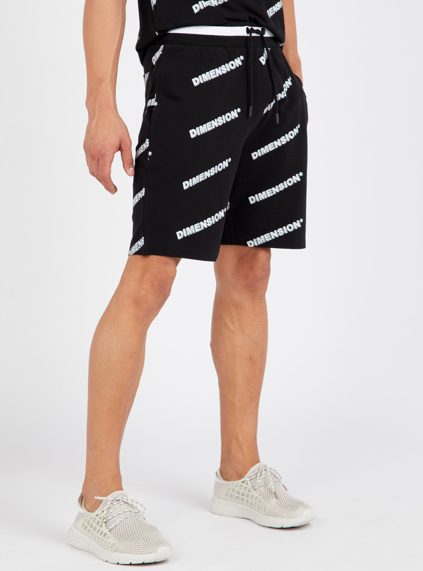 Printed Mid-Rise Shorts with Drawstring Closure