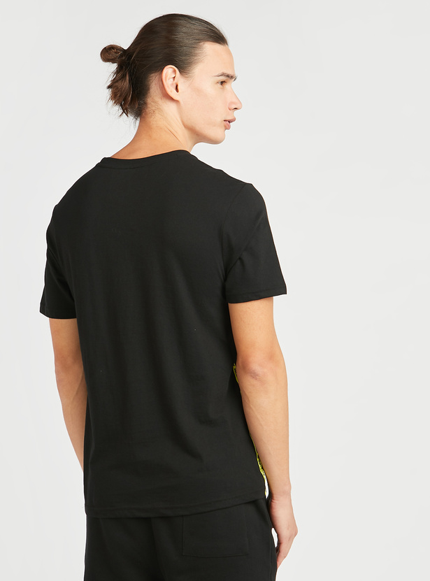 Slim Fit Graphic Foil Print T-shirt with Round Neck and Tape Detail