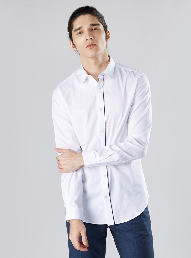 Slim Fit Plain Shirt with Long Sleeves and Spread Collar