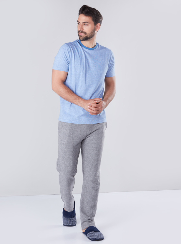 Textured Crew Neck T-shirt with Short Sleeves