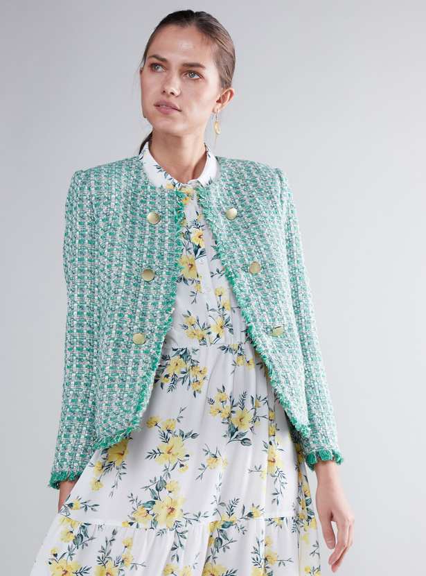 Textured Jacket with Long Sleeves and Button Detail