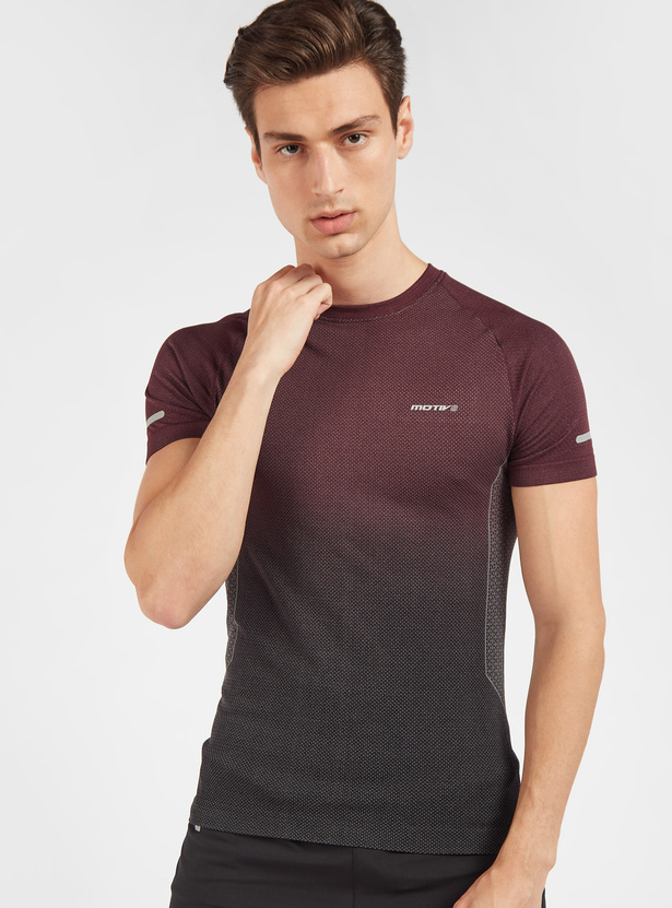 Gradient Print T-shirt with Crew Neck and Short Sleeves